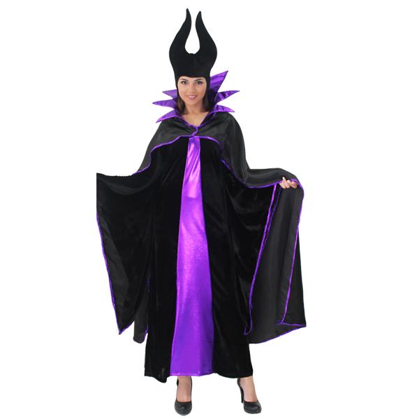 Super Costume Carnevale Donna malefica vestito con collare e cappello QG74 0aba0560c774
