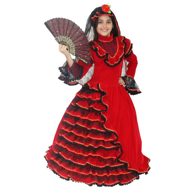 236e332c35c59 VESTITO COSTUME Maschera di CARNEVALE bambina - SPAGNOLA in velluto