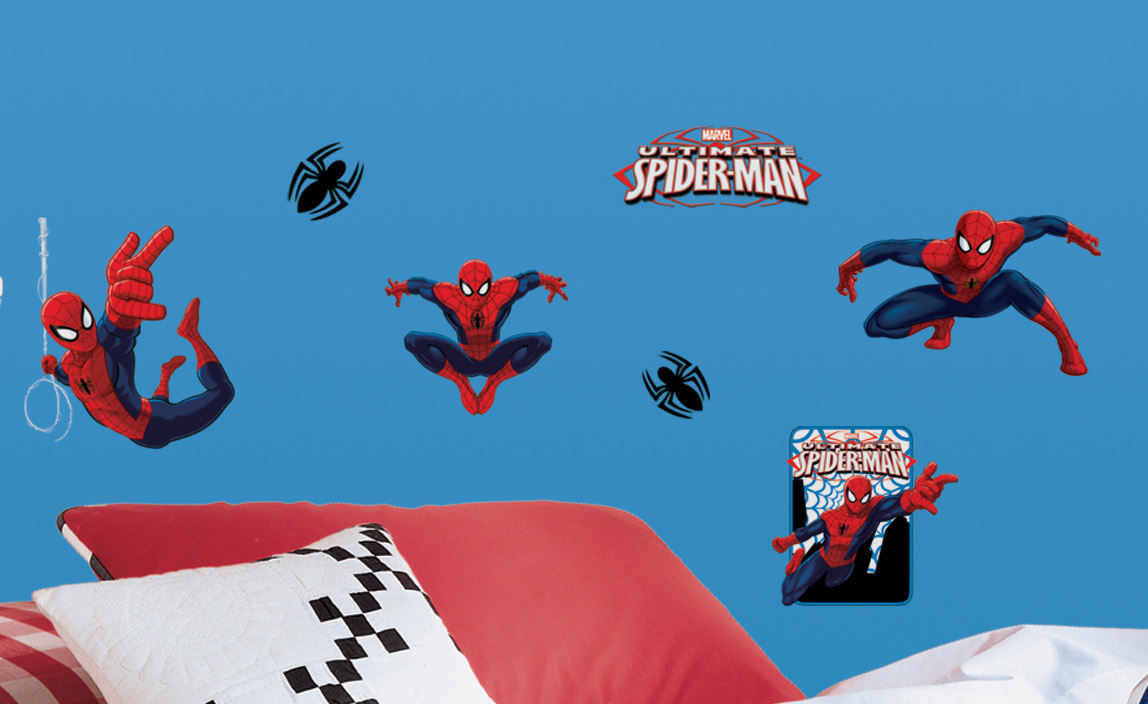 Decorazione Murale ADESIVA in PVC Disney MARVEL SPIDERMAN, 22 elementi