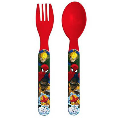 SET PAPPA Posate in Plastica - Cucchiaino e Forchetta DISNEY MARVEL - SPIDERMAN