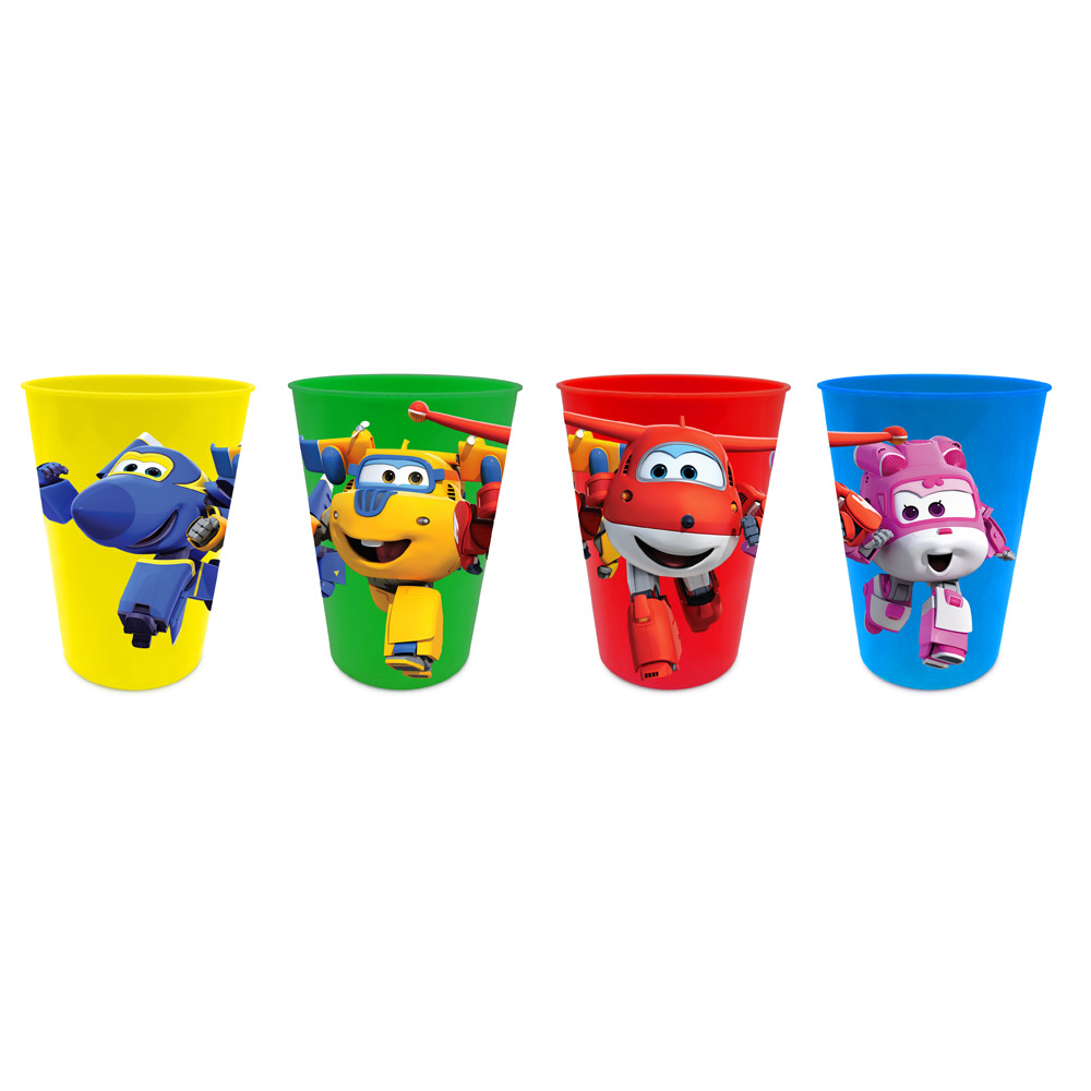SET PAPPA 4 Bicchieri in Plastica DISNEY - SUPER WINGS