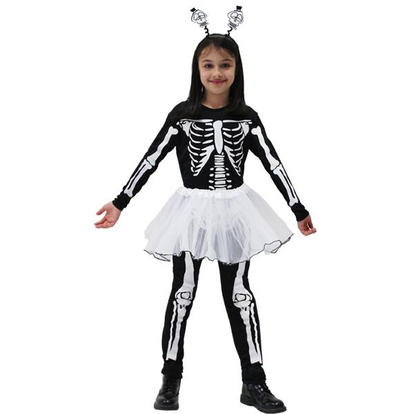 grandi affari sulla moda dettagliare vendite all'ingrosso Dettagli su VESTITO COSTUME Maschera di CARNEVALE / Halloween - Bambina  SCHELETRO