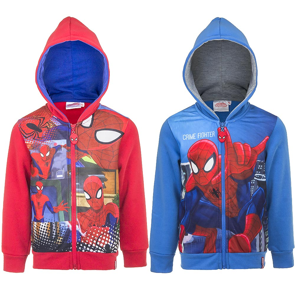 FELPA con Cappuccio e Zip - DISNEY MARVEL SPIDERMAN - 3, 4, 6, 8 anni
