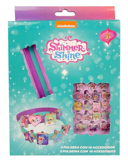 Fantastico set 3 BRACCIALI con 18 accessori SHIMMER AND SHINE