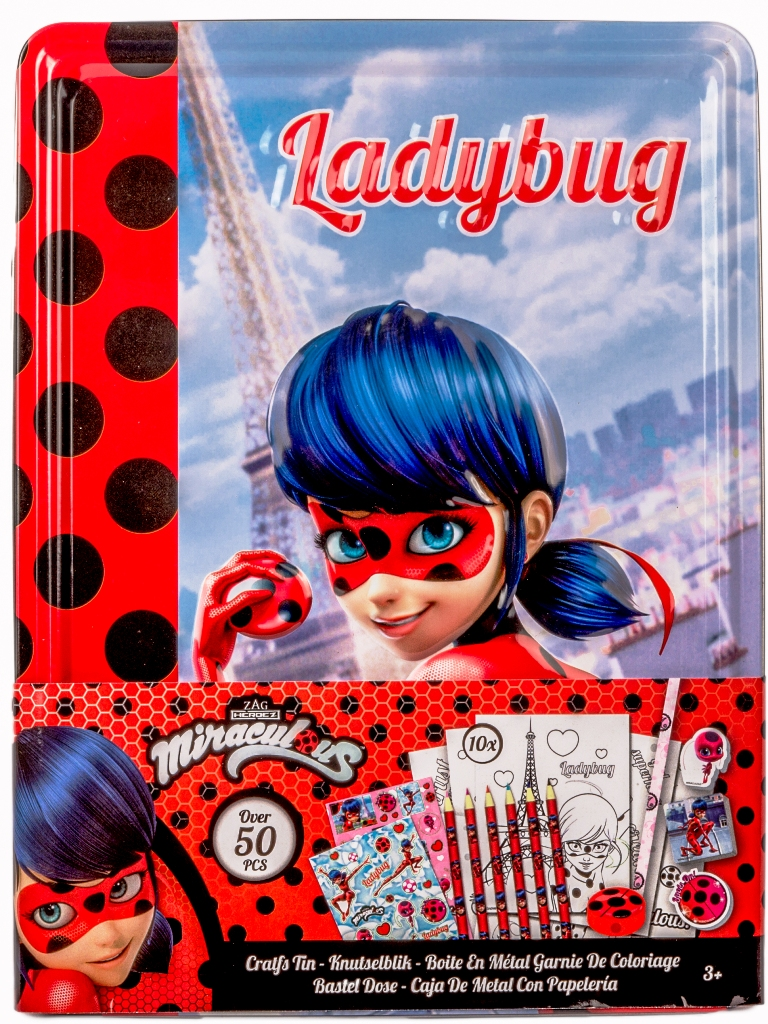 SCATOLA IN LATTA con Accessori per colorare - MIRACULOUS LADYBUG