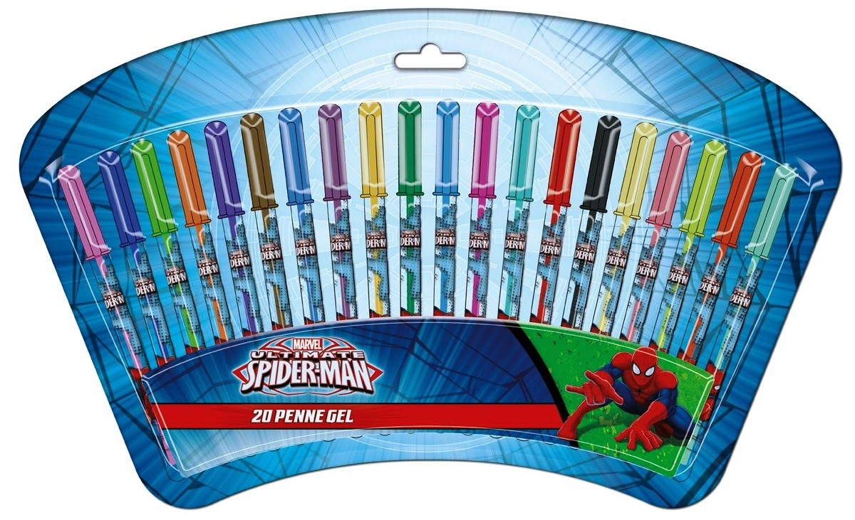 SET DA 20 PENNE GEL - MARVEL SPIDERMAN