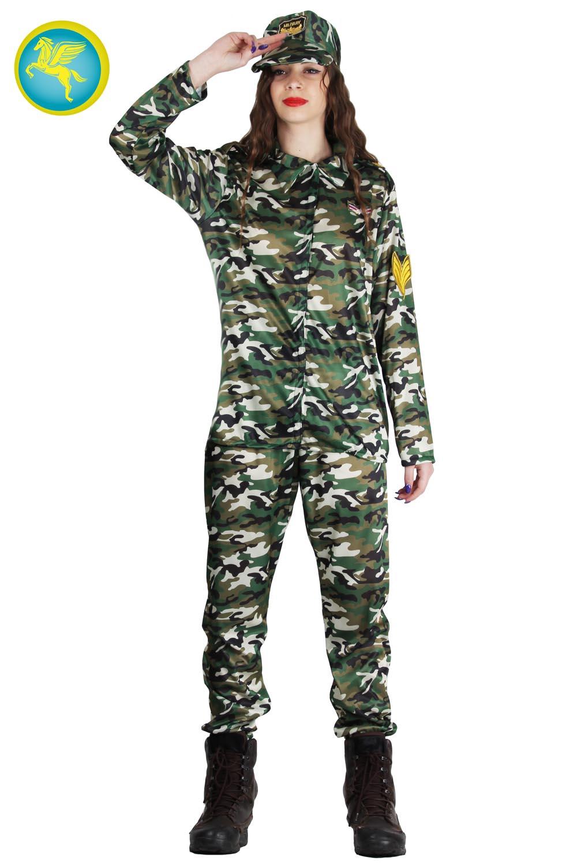 8084/_ GUIRCA Costume soldatessa militare donna carnevale adulto mod