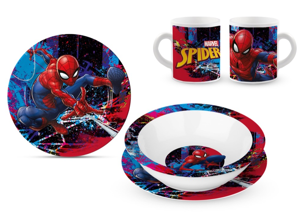 SET PAPPA in CERAMICA - Piatti e Tazza MARVEL - SPIDERMAN