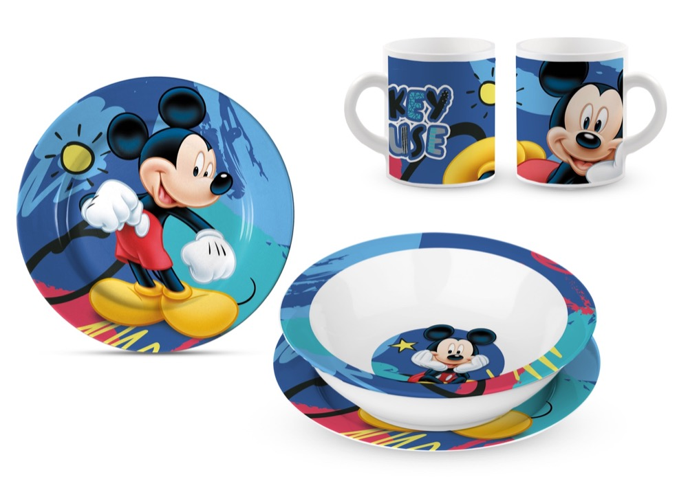 SET PAPPA in CERAMICA - Piatti e Tazza DISNEY MICKEY TOPOLINO
