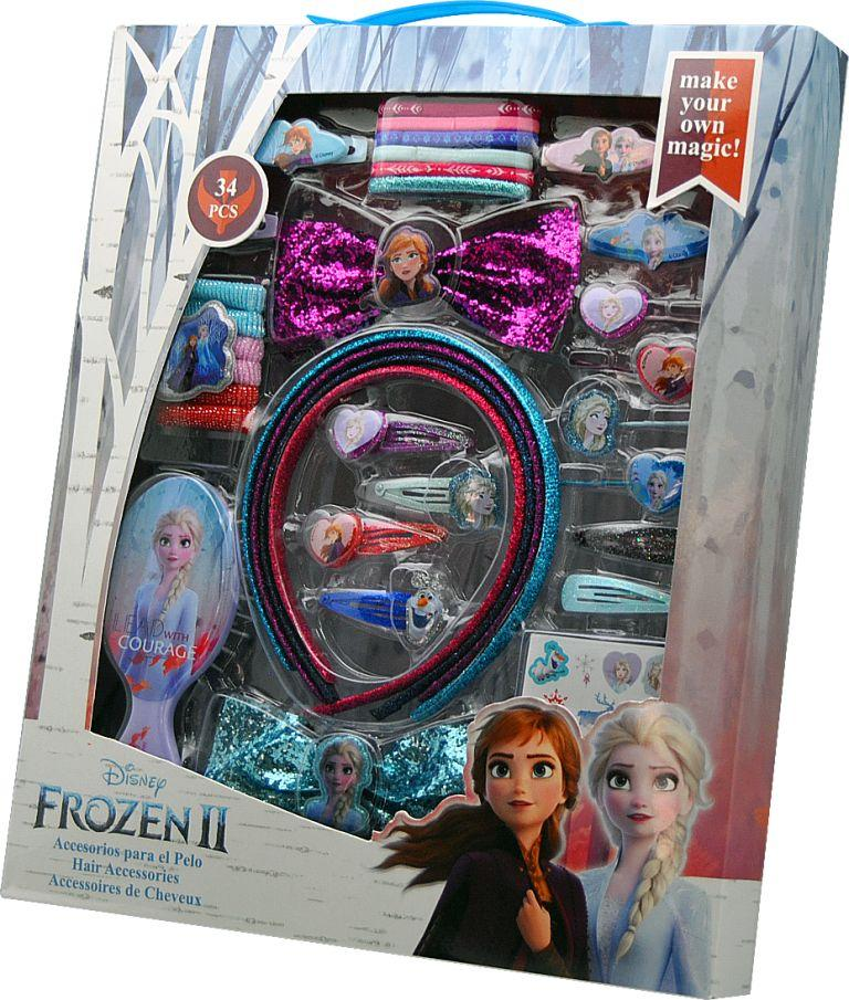 Fantastico set Accessori  Capelli Disney FROZEN DUE Elsa e Anna 34 pezzi