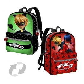 BORSA ZAINO Zainetto Free Time Reversibile - MIRACULOUS LADYBUG e CAT NOIR