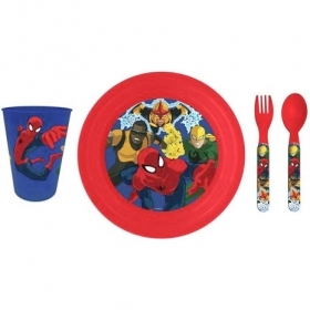 SET PAPPA 3D Lenticolare Piatto Bicchiere Posate DISNEY MARVEL SPIDERMAN