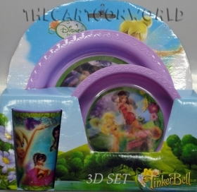 SET MEAL 3D Lenticular Dishes Glass DISNEY TINKERBELL - Faries
