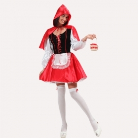 DRESS COSTUME Mask, CARNIVAL Adult little RED riding HOOD