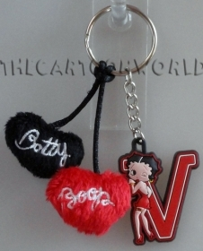 KEYCHAIN Disney BETTY BOOP LETTER T + BOX + HEARTS