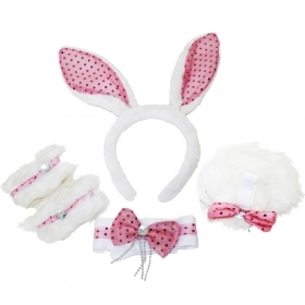 SET BUNNY LUXURY:FRONTINO,BOW TIE,BRACELETS, AND TAIL - FANCY DRESS - PARTY
