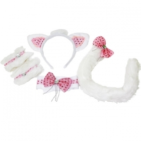 SET CAT LUXURY FRONTINO,BOW TIE,BRACELETS, AND TAIL - FANCY DRESS - PARTY