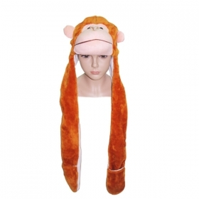 HAT Shaped 3D WITH hand warmer SOFT PLUSH toy - MONKEY