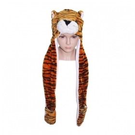 HAT Shaped 3D WITH hand warmer SOFT PLUSH - TIGER