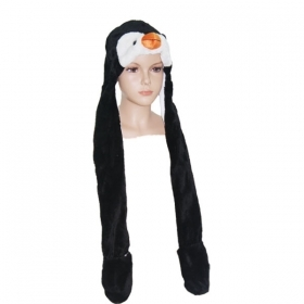 HAT Shaped 3D WITH hand warmer SOFT PLUSH - PENGUIN