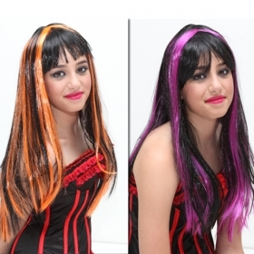 FANTASTIC WIG TWO-TONE ORANGE AND BLACK / PURPLE AND BLACK CARNIVAL , THEME PARTIES , PARTY