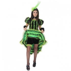 DRESS COSTUME CARNIVAL Mask girl - Dancer CAN-CAN-Green