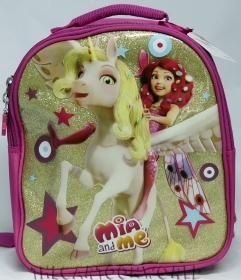 BACKPACK Rucksack Folder Kindergarten School DISNEY MIA and ME - Glitter gold with Cavall