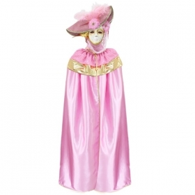 DRESS COSTUME CARNIVAL Mask Adult DOMINO pajette pink