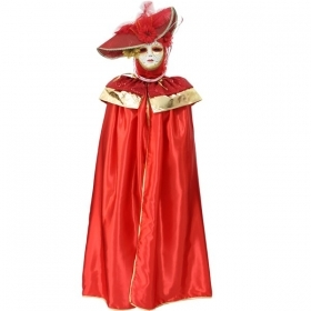 DRESS COSTUME CARNIVAL Mask Adult DOMINO pajette red