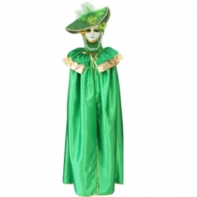 DRESS COSTUME CARNIVAL Mask Adult DOMINO pajette green