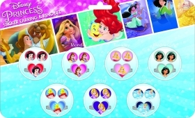 DISNEY PRINCESSES - 7 Pairs Earrings Stickers And 7 Rings