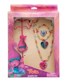 JEWELRY SET and jewelry boxes BRACELET NECKLACES RING Disney TROLLS
