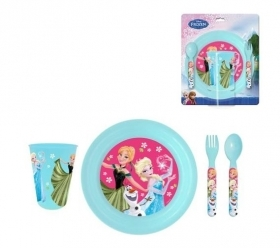SET MEAL 3D Lenticular Plate Glass Cutlery DISNEY FROZEN Elsa and Anna