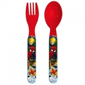 SET JELLY Plastic Cutlery - Spoon and Fork, DISNEY MARVEL - SPIDERMAN