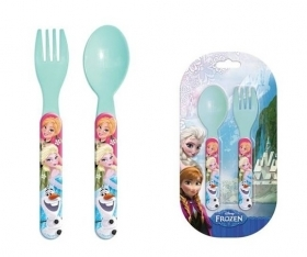 SET JELLY Plastic Cutlery - Spoon and Fork, DISNEY FROZEN Elsa and Anna