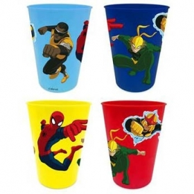 SET PAPPA 4 Bicchieri in Plastica DISNEY MARVEL SPIDERMAN