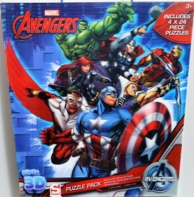 4 PUZZLE 24 pieces DISNEY Marvel the AVENGERS - 3D