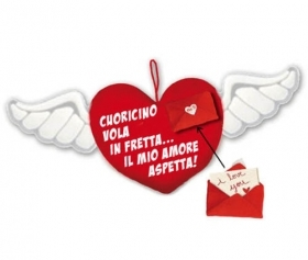 Fantastic HEART in Velvet with Wings IDEA SAN VALENTIVO