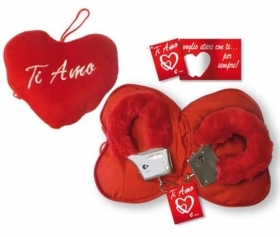 Fantastic heart-to-HEART the Velvet HANDCUFFS IDEA SAN VALENTIVO with embroidered writing