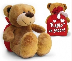 "PLUSH teddy BEAR WITH BAG AND WRITTEN ""I LOVE YOU A LOT"" 30 cm"