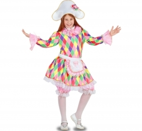 DRESS COSTUME CARNIVAL Mask girl - ARLECCHINETTA