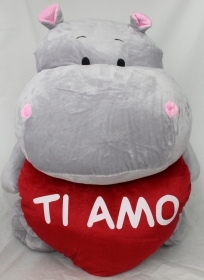 "PLUSH HIPPO VALENTINE WITH HEART AND WRITTEN ""I LOVE YOU"" 50 cm"