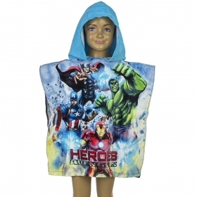 PONCHO BATHROBE beach TOWEL DISNEY Marvel AVENGERS blue