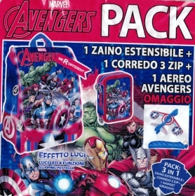 BACKPACK Extensible School DISNEY MARVEL AVENGERS more pencil Case 3 zip with 45 pieces more gadgets