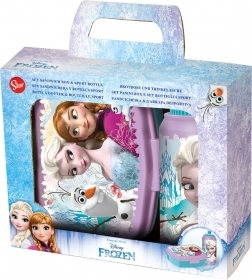 Portamerenda with water-BOTTLE, Plastic, DISNEY FROZEN Elsa Anna Olaf