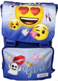 BACKPACK Extensible School EMOJI EMOTION - With Flap reversible - blue