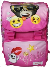 BACKPACK Extensible School EMOJI EMOTION - Flap pockets-reversible - pink