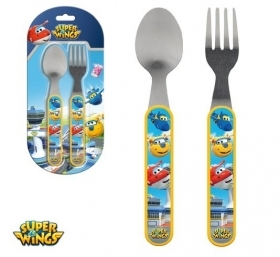 SET PAPPA Cutlery Spoon and Fork, Melamine and Stainless steel - SUPER WINGS