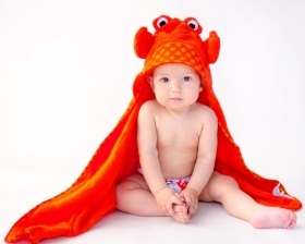 TOWEL Bathrobe for BABY With hood, CHARLIE THE CRAB