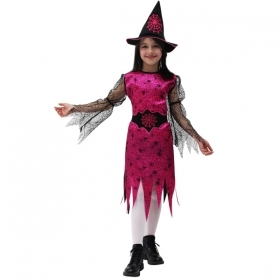 DRESS COSTUME Mask CARNIVAL Halloween WITCH spider Web Fuchsia Halloween
